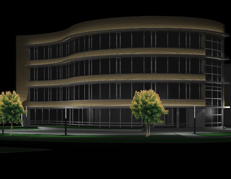 Biroja ēkas fasādes izgaismošanas projekts